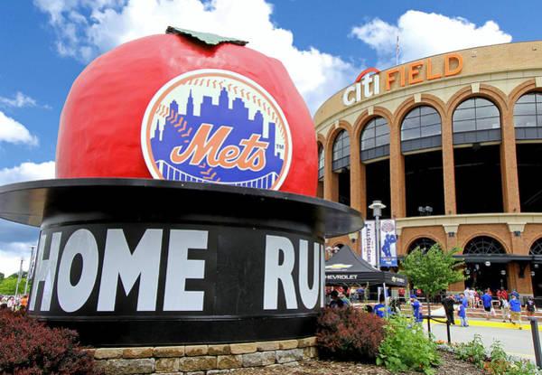 Met Photograph - Mets Home Run Apple by Allen Beatty