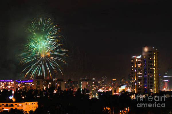 Photograph - Miami Fire Works New Years Eve by Steven Spak