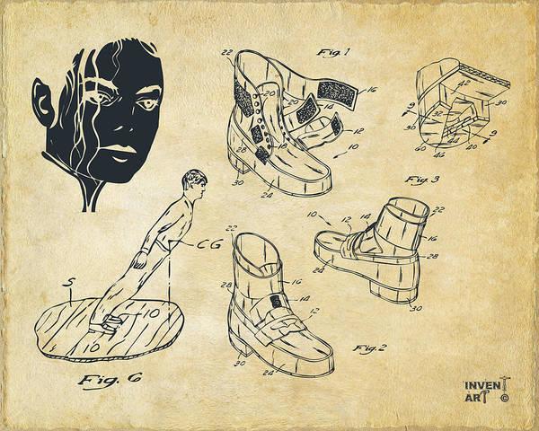 Digital Art - Michael Jackson Anti-gravity Shoe Patent Artwork Vintage by Nikki Marie Smith
