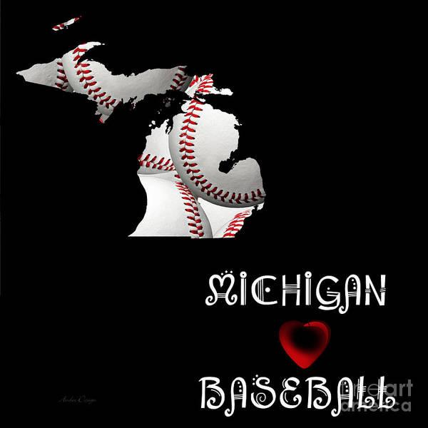 Digital Art - Michigan Loves Baseball by Andee Design