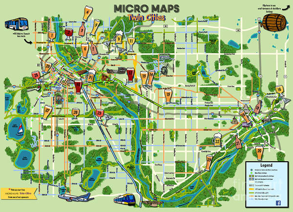 Digital Art - Micro Maps Twin Cities by Laura Toth