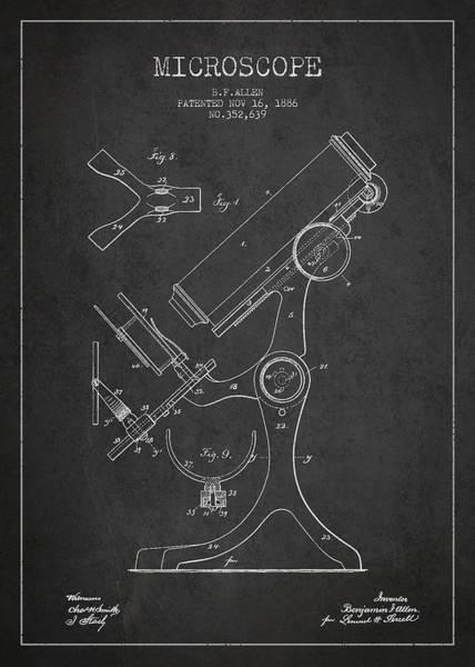 Wall Art - Digital Art - Microscope Patent Drawing From 1886 - Dark by Aged Pixel