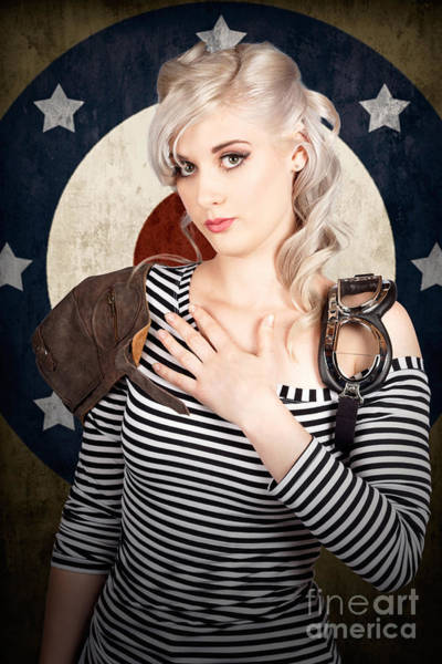 Honour Wall Art - Photograph - Military Pin Up Woman Taking Airplane Pilot Oath by Jorgo Photography - Wall Art Gallery