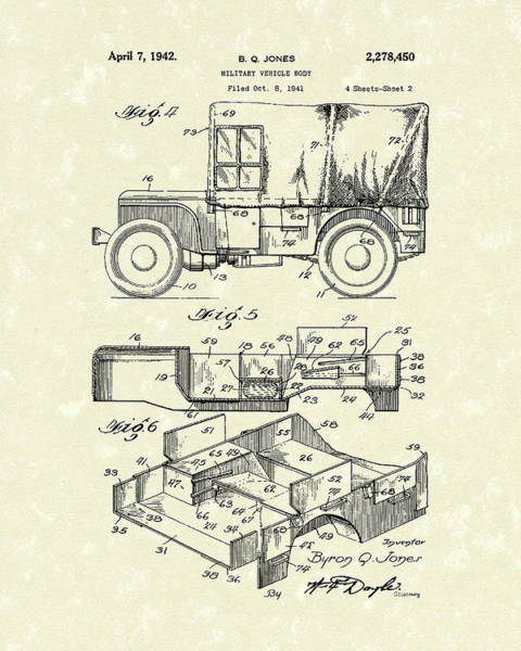 Drawing - Military Vehicle 1942 Patent Art by Prior Art Design