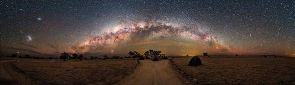 One Way Road Photograph - Milky Way Over Landscape In Namibia by Juan Carlos Casado (starryearth.com) / Science Photo Library
