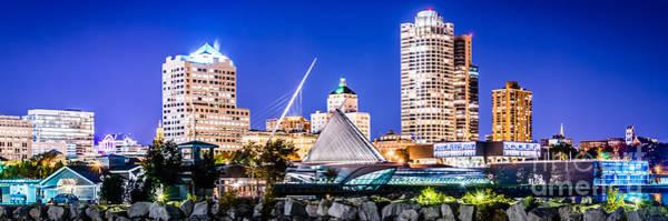 Lake Michigan Photograph - Milwaukee Skyline At Night Photo In Blue by Paul Velgos