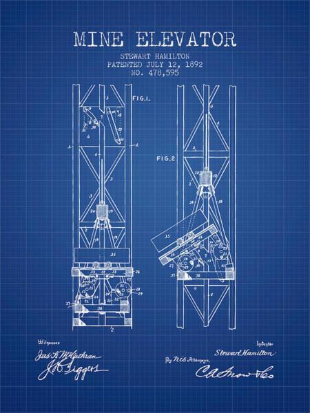 Shaft Wall Art - Digital Art - Mine Elevator Patent From 1892 - Blueprint by Aged Pixel