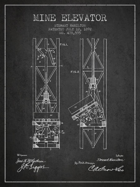 Shaft Wall Art - Digital Art - Mine Elevator Patent From 1892 - Charcoal by Aged Pixel