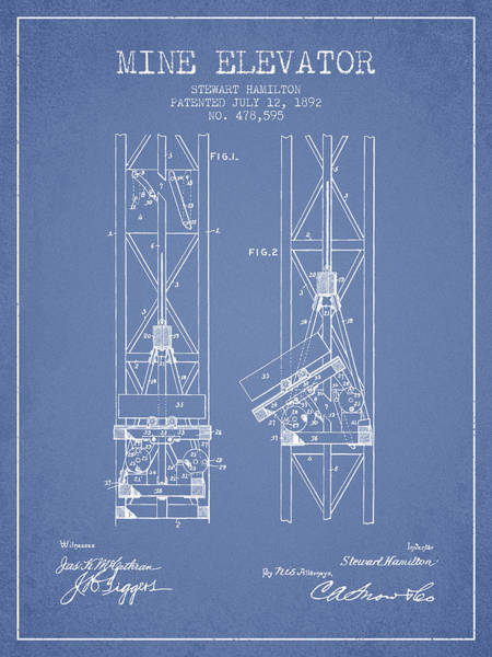 Shaft Wall Art - Digital Art - Mine Elevator Patent From 1892 - Light Blue by Aged Pixel