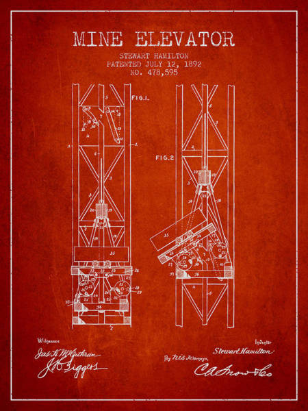 Shaft Wall Art - Digital Art - Mine Elevator Patent From 1892 - Red by Aged Pixel
