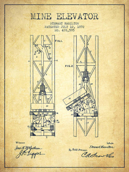 Shaft Wall Art - Digital Art - Mine Elevator Patent From 1892 - Vintage by Aged Pixel