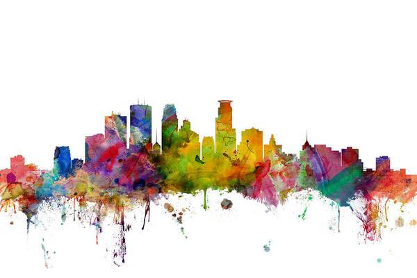 Minneapolis Minnesota Skyline Art Print
