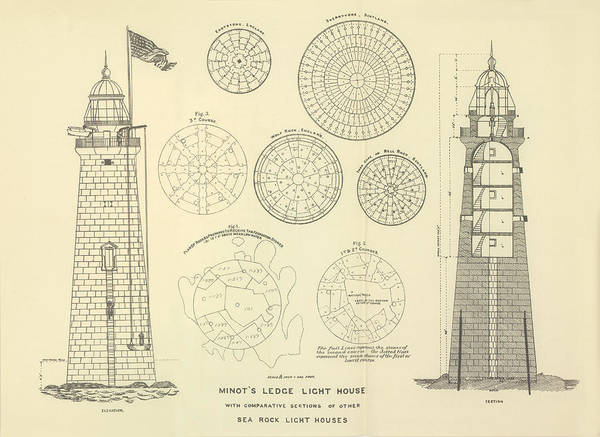 Atlantic Ocean Drawing - Minots Ledge Lighthouse by Jerry McElroy