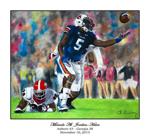 Gus Wall Art - Painting - Miracle At Jordan-hare by Lance Curry