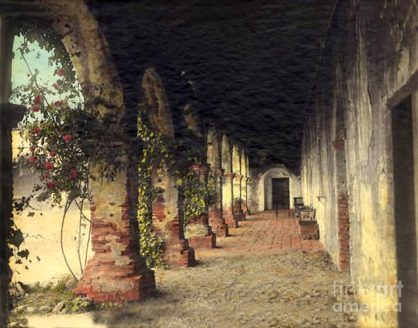 Photograph - Mission Corridor San Juan Capistrano Calif Circa 1920 by California Views Archives Mr Pat Hathaway Archives