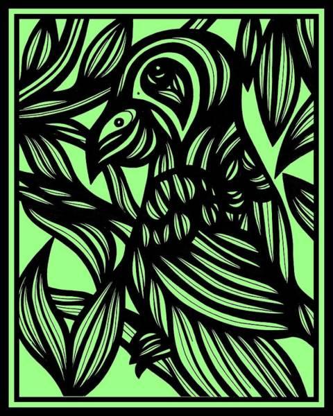 Green Parrot Drawing - Mist In The Silk by Eddie Alfaro