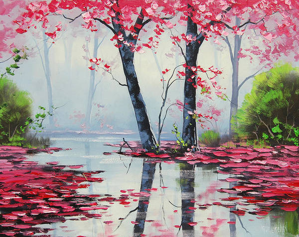 Pink Blossom Painting - Misty River by Graham Gercken