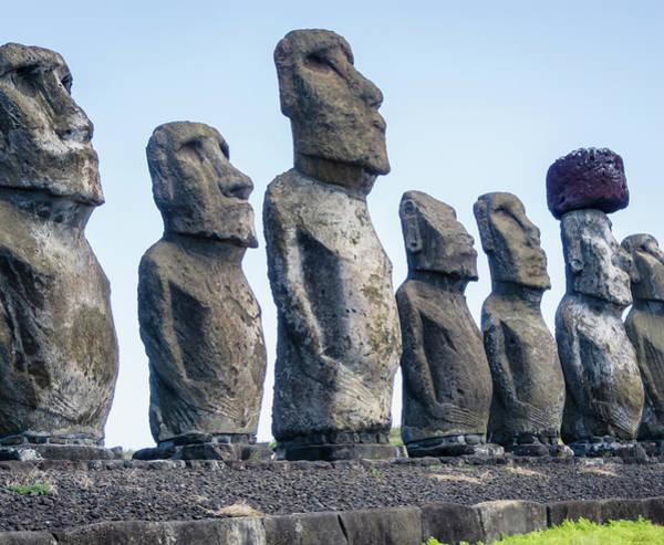 Statue Photograph - Moai Statues At Ahu Tongariki, Easter by David Madison