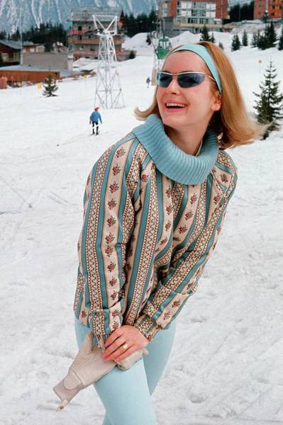 Snow Photograph - Model On The Slopes At Courchevel by Frances McLaughlin-Gill