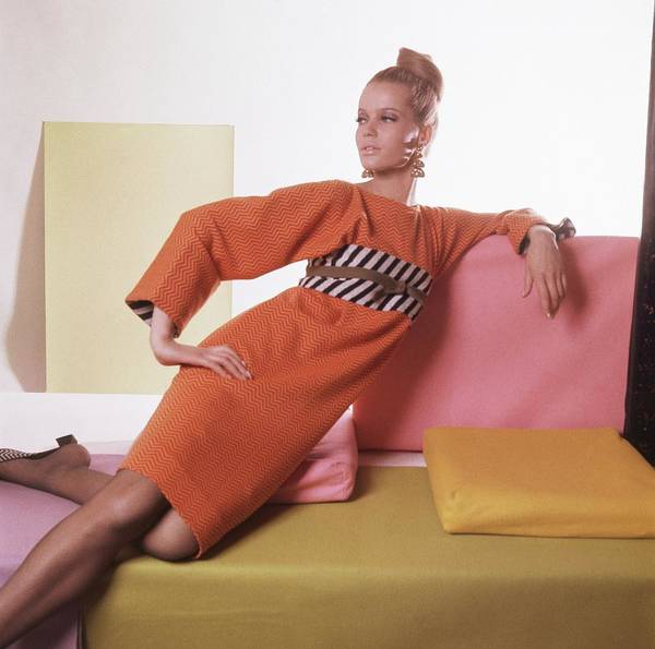 Photograph - Model Wearing Orange And Striped Dress by Horst P. Horst