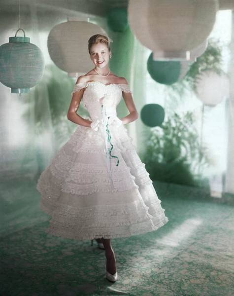 Paper Dress Photograph - Model Wearing White Dress by Horst P. Horst