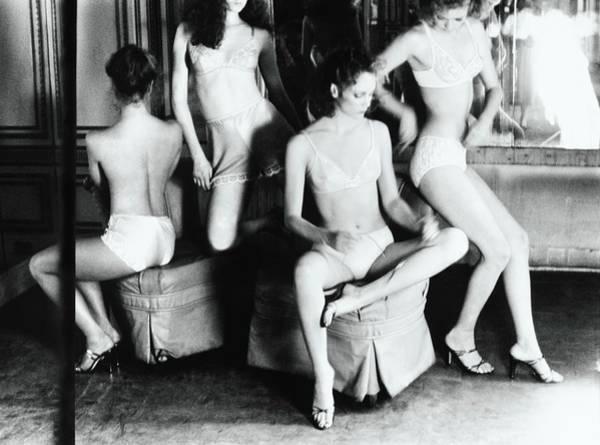 Four People Photograph - Models Wearing Lingerie by Deborah Turbeville