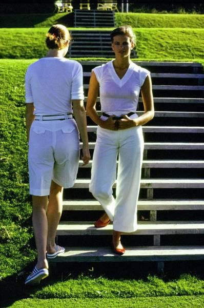 Rowan Photograph - Models Wearing White Ensembles by Arthur Elgort