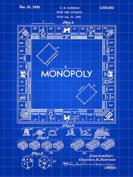 Patent Drawing Wall Art - Digital Art - Monopoly Patent 1935 - Blue by Stephen Younts