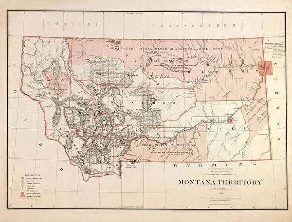 Montana Drawing - Montana Vintage Antique Map by World Art Prints And Designs