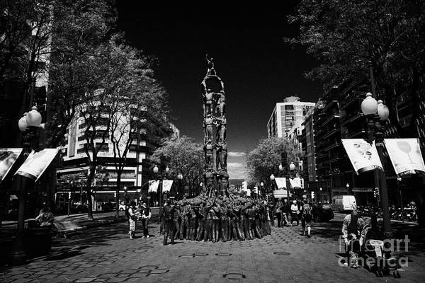 Monument To The Castellers On Rambla Nova Avenue In Central Tarragona Catalonia Spain Art Print by Joe Fox