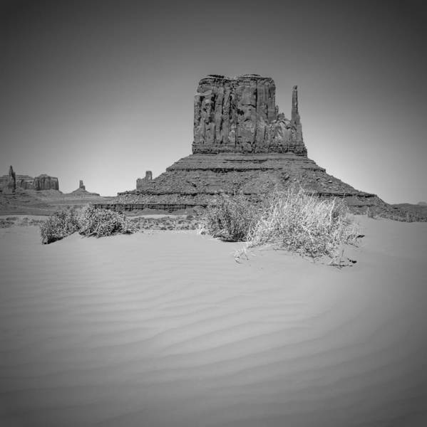 Geologic Formation Photograph - Monument Valley - West Mitten Butte Bw by Melanie Viola