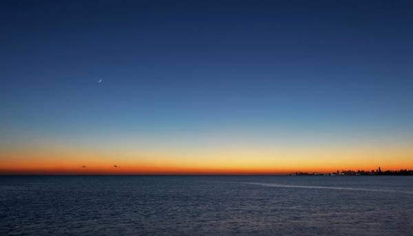 Astronomical Twilight Photograph - Moon And Venus At Sunrise by Luis Argerich