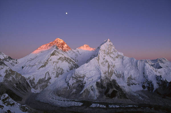 Art Print featuring the photograph Moon Over Mount Everest Summit by Grant  Dixon