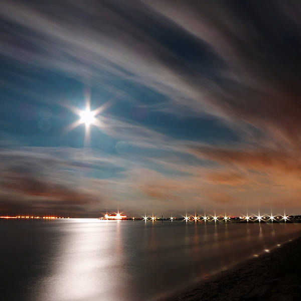 Photograph - Moon Rise Over Anna Maria Island Historic City Pier by Rolf Bertram
