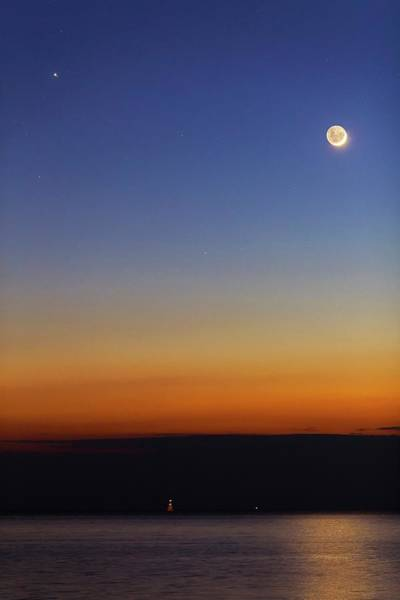 Astronomical Twilight Photograph - Moon With Jupiter by Luis Argerich