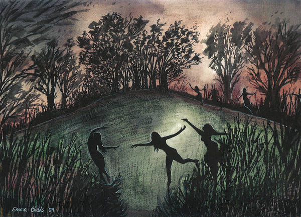 Wiccan Painting - Moonlight Dance by Emma Childs
