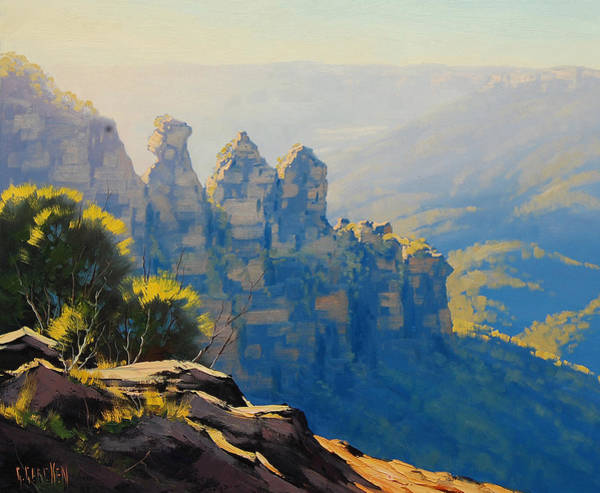 Cliff Painting - Morning Light Three Sisters by Graham Gercken