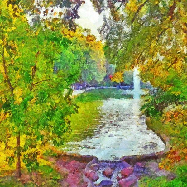 Digital Art - Morning On The First Day Of Classes. Mirror Lake. The Ohio State University by Digital Photographic Arts