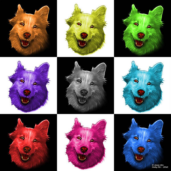 Painting - Mosaic Siberian Husky Mix Dog Pop Art - 5060 V1 - M by James Ahn