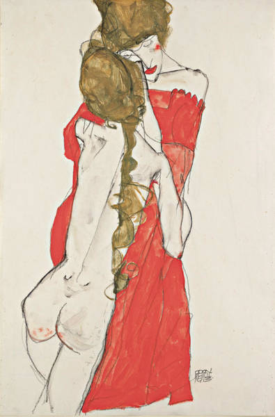 Drawing - Mother And Daughter by Egon Schiele