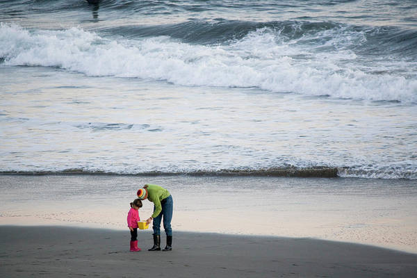 All Together Photograph - Mother And Daughter Play On Beach by Henry Georgi