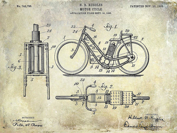 Victory Motorcycle Photograph - 1903 Motorcycle Patent by Jon Neidert