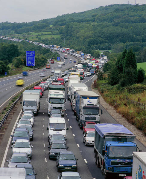 Wall Art - Photograph - Motorway Traffic Jam by Martin Bond/science Photo Library