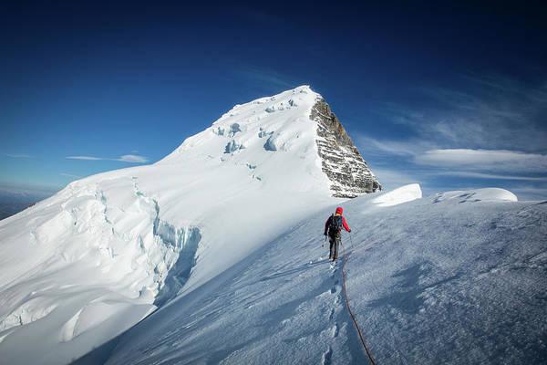 Wall Art - Photograph - Mountain Climber At Mount Robson by Paul Zizka