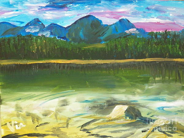 Adirondack Mountains Painting - ptg. Mountain View by Judy Via-Wolff