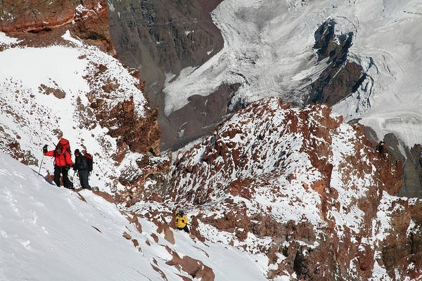 Mendoza Province Photograph - Mountaineers At 22,400ft On The Upper by Johnathan Ampersand Esper