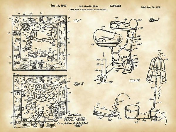 Dice Digital Art - Mouse Trap Board Game Patent 1962 by Stephen Younts