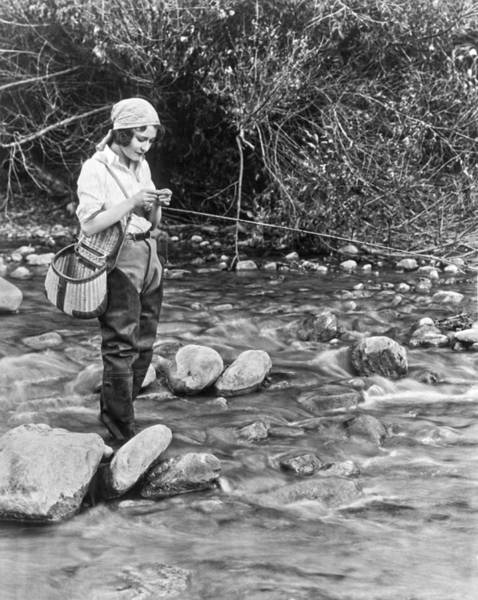 Trout Stream Photograph - Movie Actress Trout Fishing by Underwood Archives