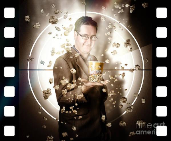 Cinematography Photograph - Movie Man Holding Cinema Popcorn Bucket At Film by Jorgo Photography - Wall Art Gallery