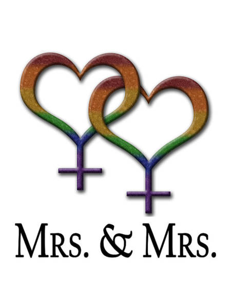 Gay Pride Flag Photograph - Mrs. And Mrs. Lesbian Pride  by Tavia Starfire